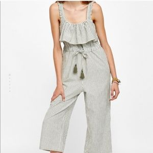 ZARA Striped Jumpsuit with Ruffles Size: XS